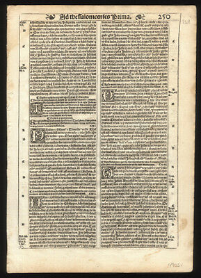 1539 Latin Bible Leaf New Testament Pauls 1st & 2nd Epistles to Thessalonians