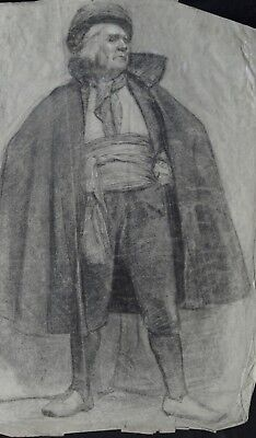 Pencil Drawing Pre-Raphaelite study of a standing man c1900