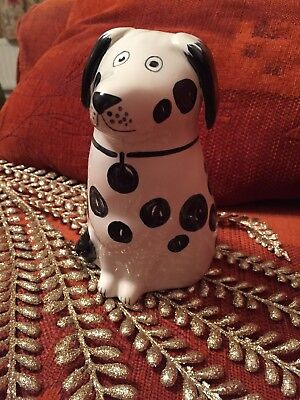 Rye Pottery Dog Statue Black Spot Design With Tag Detail