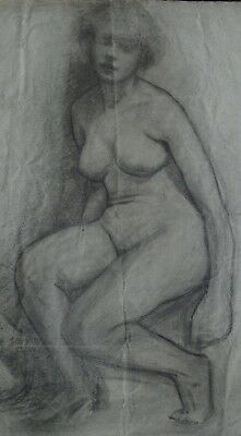 2 Pencil Drawings Pre-Raphaelite study of a nude seated woman c1900