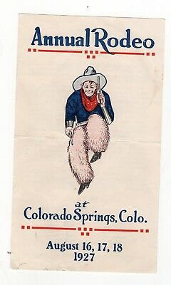 Color 1927 Ad for Pikes Peak Rodeo