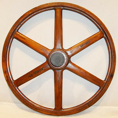 """Antique 20"""" Industrial Wood Spur Gear Wheel Mold Foundry Pattern"""
