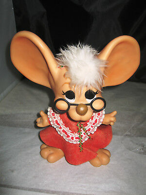 Vintage 1970 Topo Gigio Christmas Mrs Santa Claus Mouse Bank Roy Des of Fla