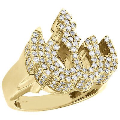 10K Yellow Gold Mens Diamond 3D Allah Pinky Ring Islamic Arabic Design 1.50 CT.