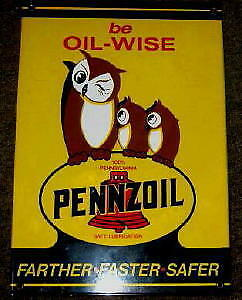 Pennzoil Oil-Wise Porcelain Overlay Metal Sign  Nr
