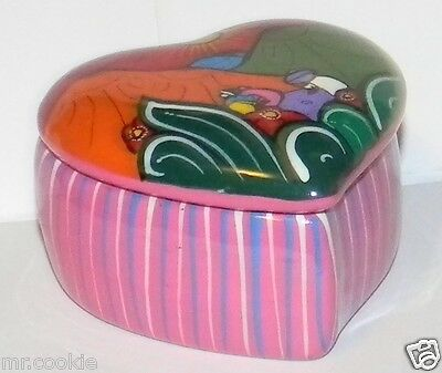 Handcrafted Clay Heart Shape Mexican Pottery Trinket Box Cozumel Island Yucatan