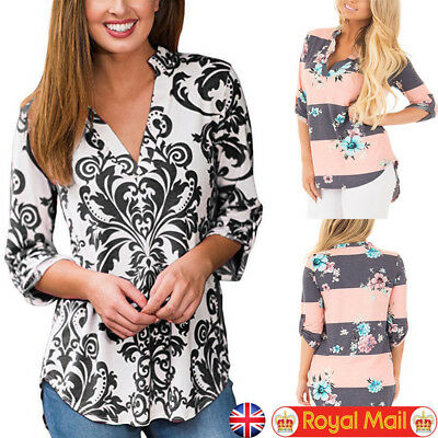 Womens Long Sleeve T Shirt Blouse Ladies Floral Casual Loose Tops Shirts UK 6-14
