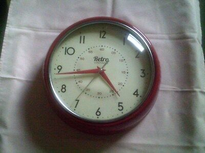 Retro Vintage Red Battery Operated Quartz Wall Clock