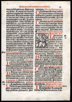 Mass Celebrated on Wednesday of Passion Week Easter 1566 Roman Missal Leaf