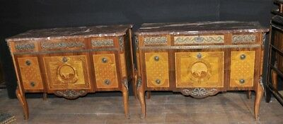Pair French Commodes - Antique Louis Philippe Chests Drawers Empire Inlay Furnit