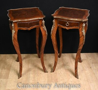 Pair French Side Tables - Tall Empire Pedestal Stands