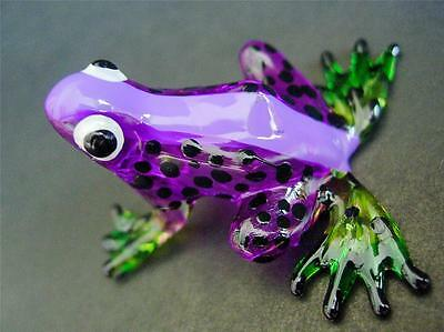 Glass FROG, Spotted Purple Painted Glass Animal Ornament, Cute Glass Figure Gift