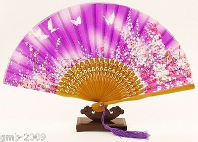 Chinese Bamboo Folding Silk HAND FAN with Flower Wedding Party Gift HOT