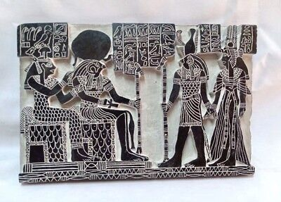 "Egyptian Large Basalt Stone Engraved Plaque Horus Osiris Isis unique 11"" X 7"""