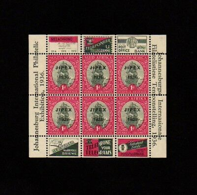 South  Africa  Mint  1936  Jipex  Mini  Sheet  With  Adverts