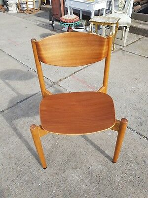 Mid Century Risom Stacking Chair Bentwood w/Floating Seat Vintage MCM 1950s
