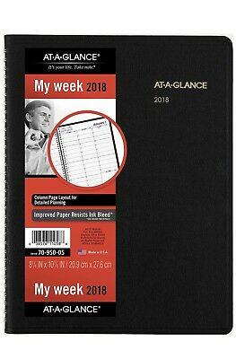 At-A-Glance 70-950-05 Weekly Appointment Book, 8 1/4 X 10 7/8, Black, 2018