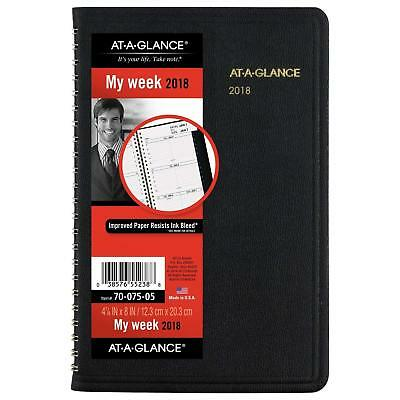 "AT-A-GLANCE Weekly Appointment Book/Planner, Black, Jan - Dec 2018 - 4 7/8"" x 8"""