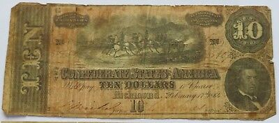 1864 $10 Confederate Sates of America note, Richmond Currency Bill (141617M)