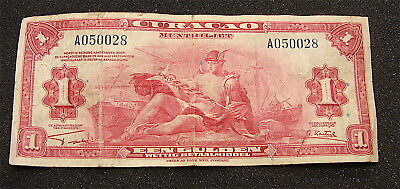 1942 CURACAO -Netherlands 1 Gulden Currency Note--WW2 Era--vg note--free ship