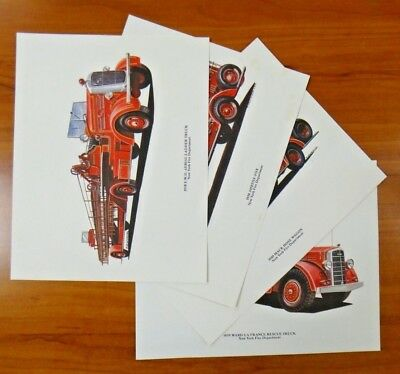 Lot of 4 New York Fire Department NYFD Fire Truck Lithographs R. Henderson 11x14