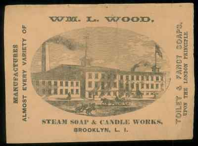 Old Soap Box Label Wm. L. Wood Steam Soap, Candle Works, Brooklyn Long Island NY