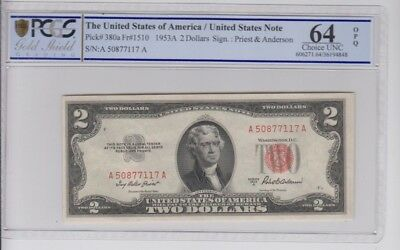 Red Seal $2 1953-A PCGS Gold Shield graded choice unc 64 OPQ