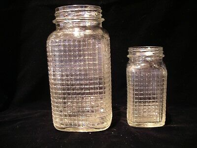 2 Sizes, Vintage Waffle Pressed, Glass Square Coffee Storage Jars,clear,hoosier?