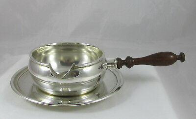 Vintage Preisner Sterling Silver Sauce Gravy Bowl w/Wood Handle & Underplate Set