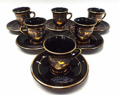 KRATIMENOS Small Coffee Cups & Saucers Hand Made In Greece in 24K Gold - P23