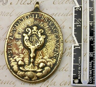 Antique Spanish Colonial Catholic Immaculate Conception Corpus Christi Medal