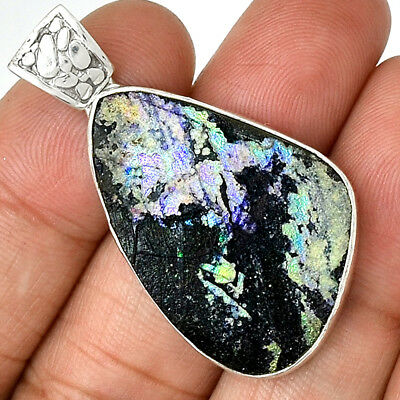 Ancient Roman Glass 925 Sterling Silver Pendant Jewelry AP13494