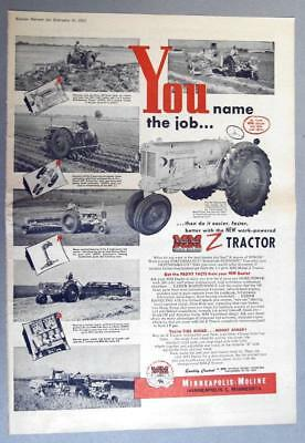 Original 1953 Minneapolis Moline Ad ITS EASIER BETTER FASTER WITH MM Z TRACTOR