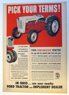 10X14.5 Original 1957 Ford Tractor Ad THE POWERMASTER 860 2-3 PLOW