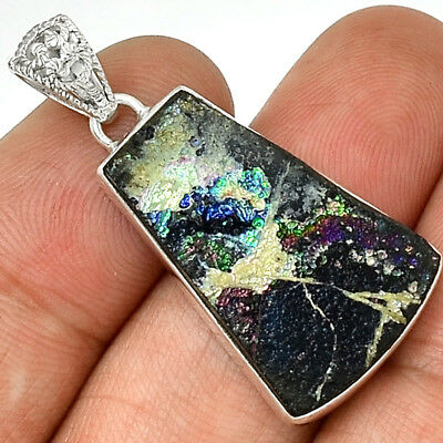 Ancient Roman Glass 925 Sterling Silver Pendant Jewelry AP11909