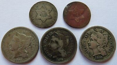 1851/52 Three Cent Silver pieces + 1865/70/73 Three Cent Nickels 3C  (141828N)