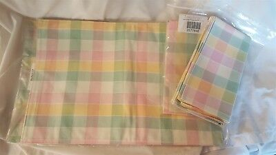 Longaberger Set of 4 Placemats & 4 Napkins PASTEL PLAID NEW