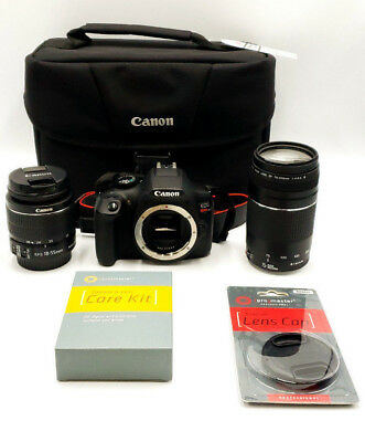 PRE-OWNED Canon EOS Rebel T6 DSLR Camera with 18-55mm and 75-300mm Lenses Kit