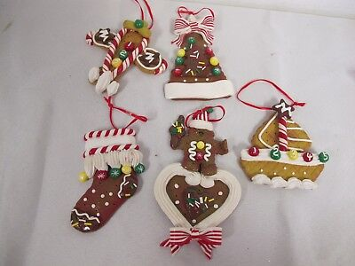 Gingerbread Cookies Clay Dough Christmas Ornaments Plane Boat Stocking Tree