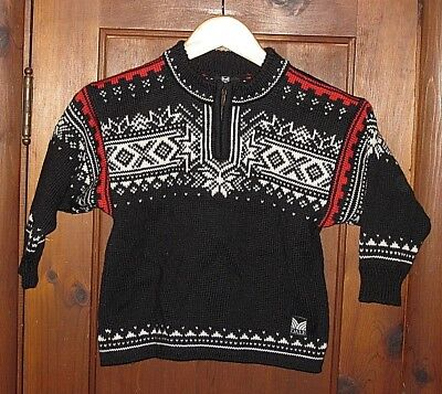 Dale Of Norway Black 100% Wool Pullover Top Zip Sweater Girl's Boy's Youth Sz 6