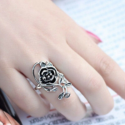 Charming Ancient Silver Rose Flower Carve Vintage Styles Finger Ring B