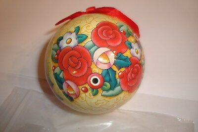"Mary Engelbreit Christmas Ornament Decoupage Ball 3"" Yellow Background Flowers"