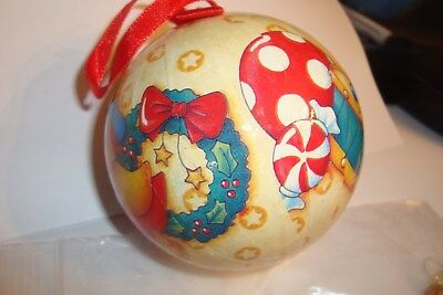 "Mary Engelbreit Christmas Ornament Decoupage Ball 3"" Yellow Background Doll Duck"