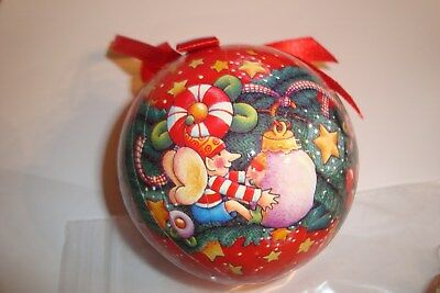 "Mary Engelbreit Christmas Ornament Decoupage Ball 3"" Red Background Elves Candy"