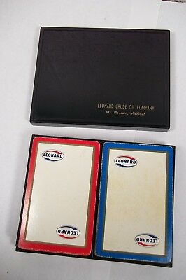 vtg DOUBLE DECK PLAYING CARDS Leonard Gas Oil Advertising MT PLEASANT MI