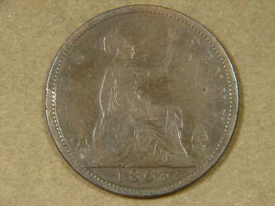 1863 Great Britain One Penny Coin