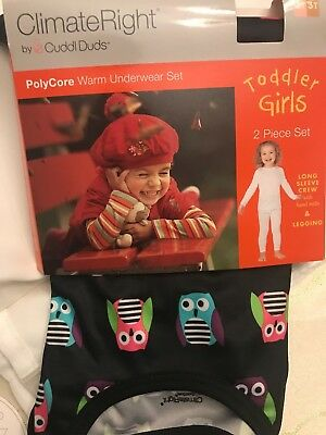 Nwt Climateright By Cuddle Duds Owl Toddler Girls Black Print Size: 2T/3T