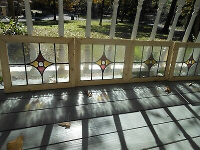 M-269 Lovely Older English Leaded Stained Glass Window Reframed 4 Available