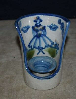 M. A. Hadley Pottery Country Standing Girl Candle Holder- Hand Decorated
