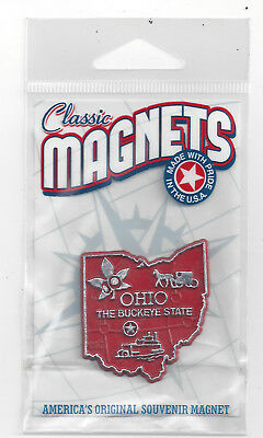 """THE BUCKEYE STATE"" OHIO  OH   OUTLINE MAP MAGNET in Souvenir Bag, NEW"